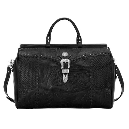 American West Retro Romance Leather Western Duffel Bag - Black - Western Luggage | Spur Western Wear