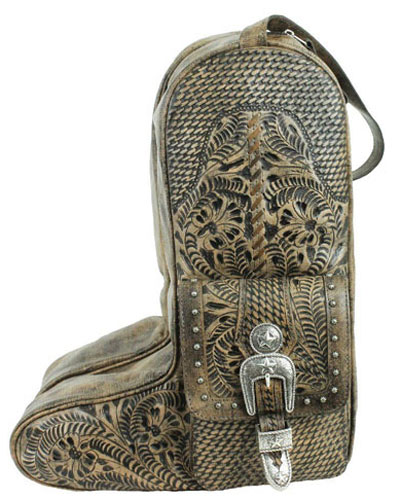 American West Retro Romance Leather Western Boot Bag - Charcoal Brown - Western Luggage | Spur Western Wear
