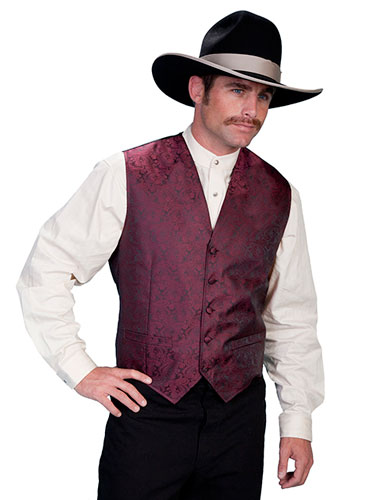 Scully Notched Lapel Paisley Vest - Burgundy - Men's Old West Vests and Jackets | Spur Western Wear