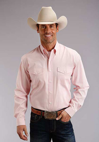 Stetson End On End Long Sleeve Button Front Western Shirt - Pink - Men's Western Shirts | Spur Western Wear