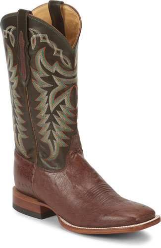 Justin Pascoe Smooth Ostrich Western Boot - Kango Brown & Green - Men's Western Boots | Spur Western Wear