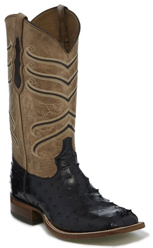 Tony Lama Amell Full Quill Ostrich Western Boot - Black - Men's Western Boots | Spur Western Wear