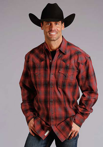 Stetson Brushed Twill Flannel Plaid Long Sleeve Snap Front Western Shirt - Red & Black - Men's Western Shirts | Spur Western Wear