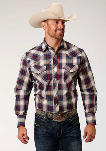 Roper Plaid Long Sleeve Snap Front Western Shirt - Navy, Cream & Red - Men's Western Shirts | Spur Western Wear