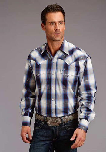 Stetson Stone Ombre Plaid Long Sleeve Snap Front Western Shirt - Blue & White - Men's Western Shirts | Spur Western Wear