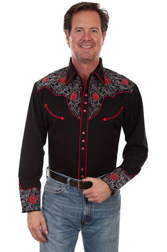 Scully Roses And Pick Stitch Embroidered Western Shirt - Black - Men's Retro Western Shirts | Spur Western Wear