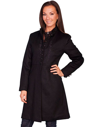 Scully Wool Blend Frock Coat - Black - Ladies' Old West Vests And Jackets | Spur Western Wear