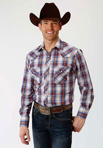 Roper Plaid Long Sleeve Snap Front Western Shirt - Royal & Rust - Men's Western Shirts | Spur Western Wear