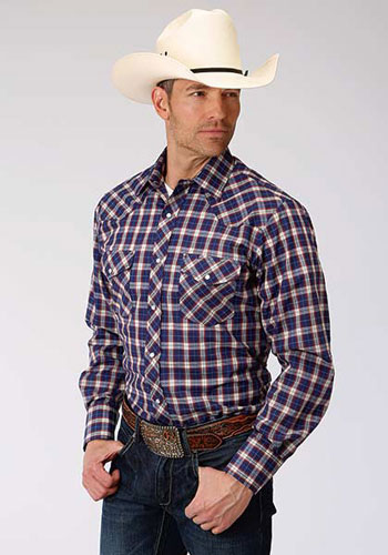 Roper Plaid Long Sleeve Snap Front Western Shirt - Navy, Red & Tan - Men's Western Shirts | Spur Western Wear