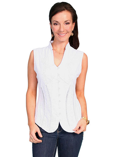 Scully Sleeveless Blouse - White - Ladies' Western Shirts | Spur Western Wear
