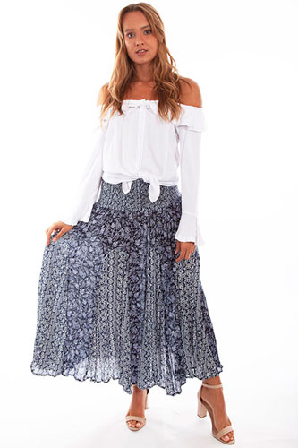 Scully Cantina Print Maxi Skirt - Blue - Ladies' Western Skirts And Dresses | Spur Western Wear