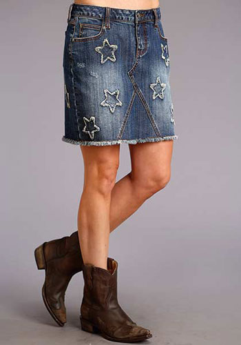 Stetson Stretch Denim Skirt with Stars - Blue - Ladies' Western Skirts And Dresses | Spur Western Wear