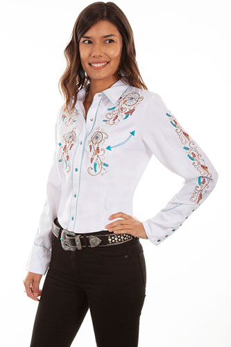 Scully Dreamcatcher Embroidered Western Shirt - White - Ladies' Retro Western Shirts | Spur Western Wear
