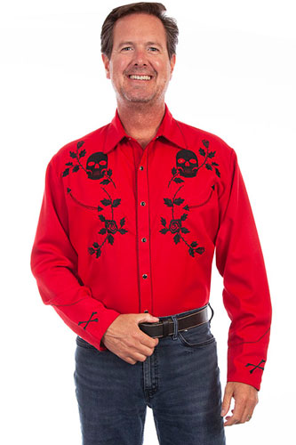 Scully Skulls And Roses Embroidered Western Shirt - Crimson - Men's Retro Western Shirts | Spur Western Wear