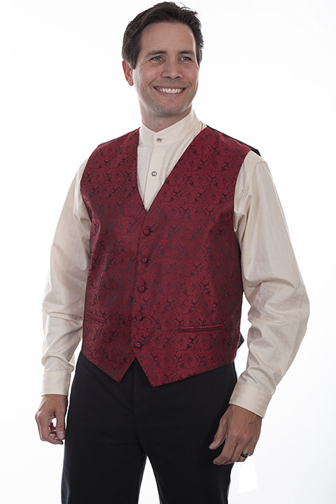 Scully No Lapel Paisley Vest -Red - Men's Old West Vests and Jackets | Spur Western Wear
