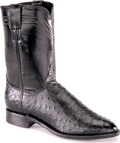 Justin Full Quill Ostrich Roper Boots - Black
