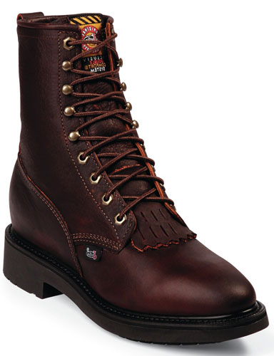 "Justin Double Comfort Conductor 8"" Lacer Work Boot - Briar - Men's Western Boots 